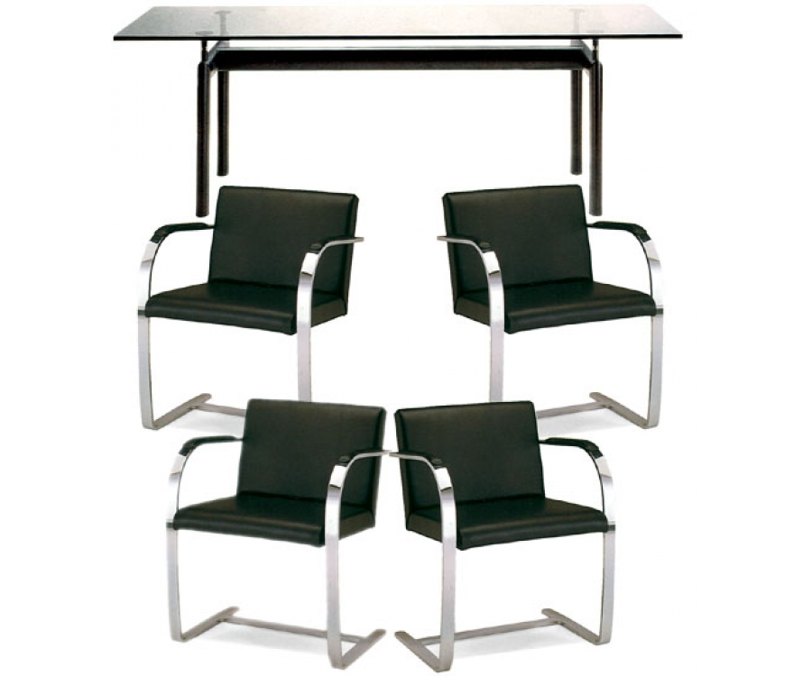 LC6 Table + 4 Armchairs Brno LR 332