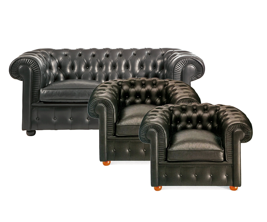 2 x Chesterfield Armchair + 1 x 2-er Sofa