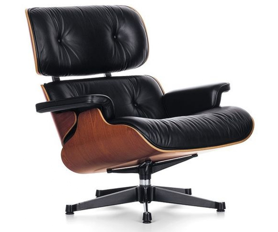 "Lounge Chair & Ottoman in leather ""SPECIAL BLACK"" stock"
