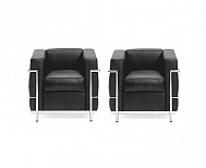 "2 x LC2 Armchair Leather ""Anilin Dark Brown"" stock"
